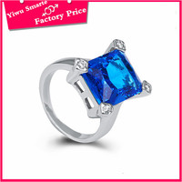 Fashion Jewelry square blue gemstone 2016 spring new design metal alloy o ring