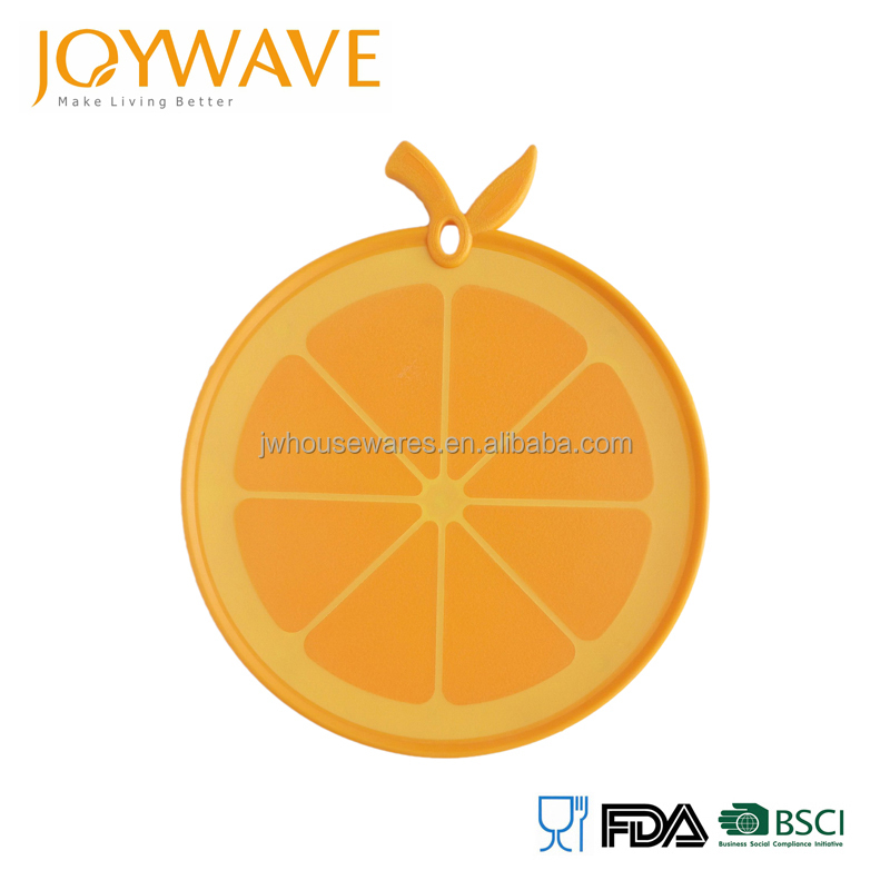 2016 new design orange shaped fruit plastic cutting board