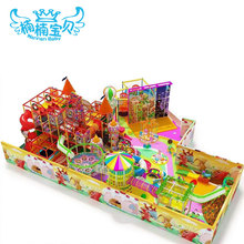 Candy theme plastic design small trampoline park indoor playground