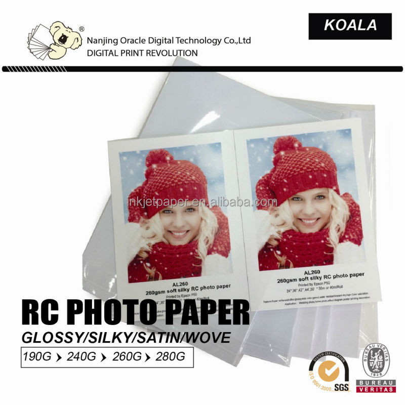 190g/ 240g/260g 3r 4r 5r a4 waterproof inkje glossy/silky/satin resin coated rc photo paper