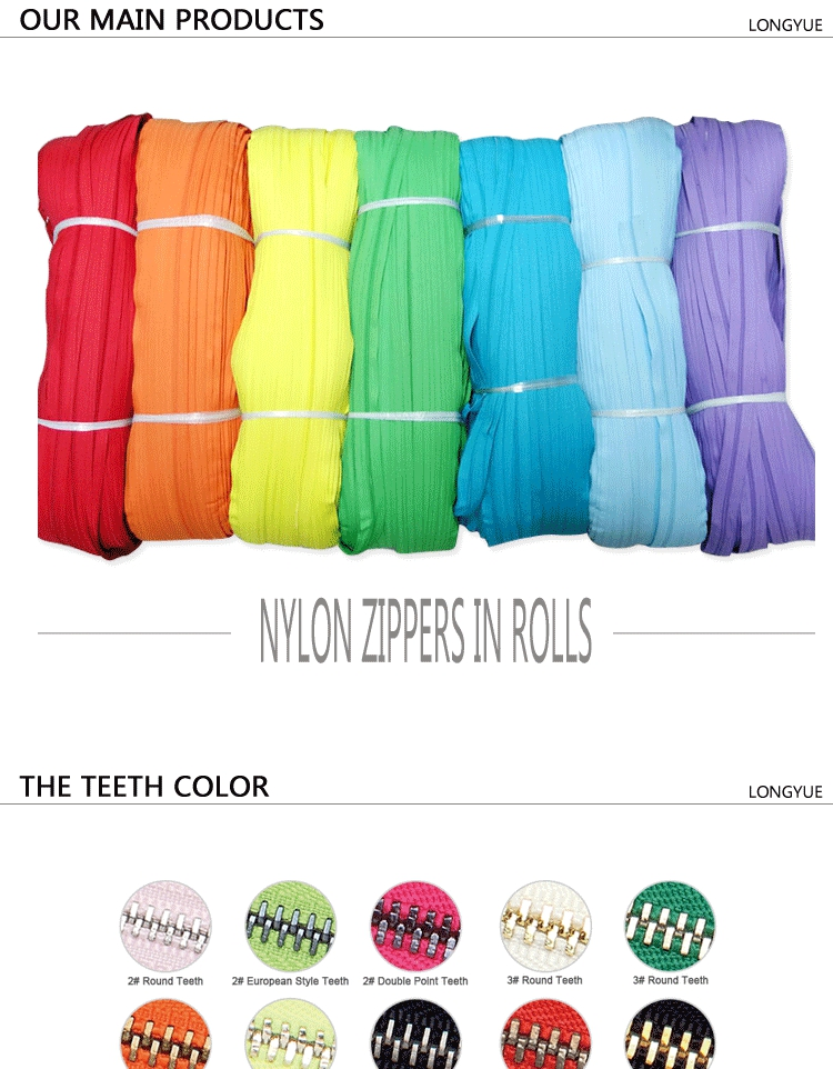 5#nylon zipper coil nolyn zipper made in china