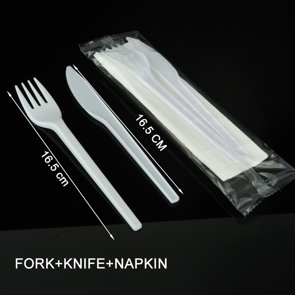 3 in 1 disposable restaurant spoon fork knife sets