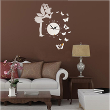 Butterfly Angel Attractive Decorative Wall Clock Round Acrylic Mirror Clock