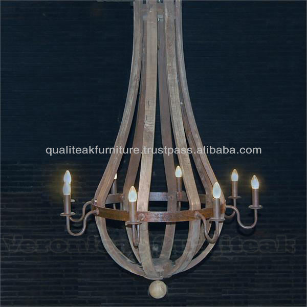 Shabby Chic Wooden Chandeliers Wine Barrel Style With 8 Lamps