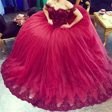 NE062 Vestido De Noiva 2017 Vintage Red Lace Ball Gown Wedding Dress Sexy Off the Shoulder Appliques Beading Tulle Wedding Gowns