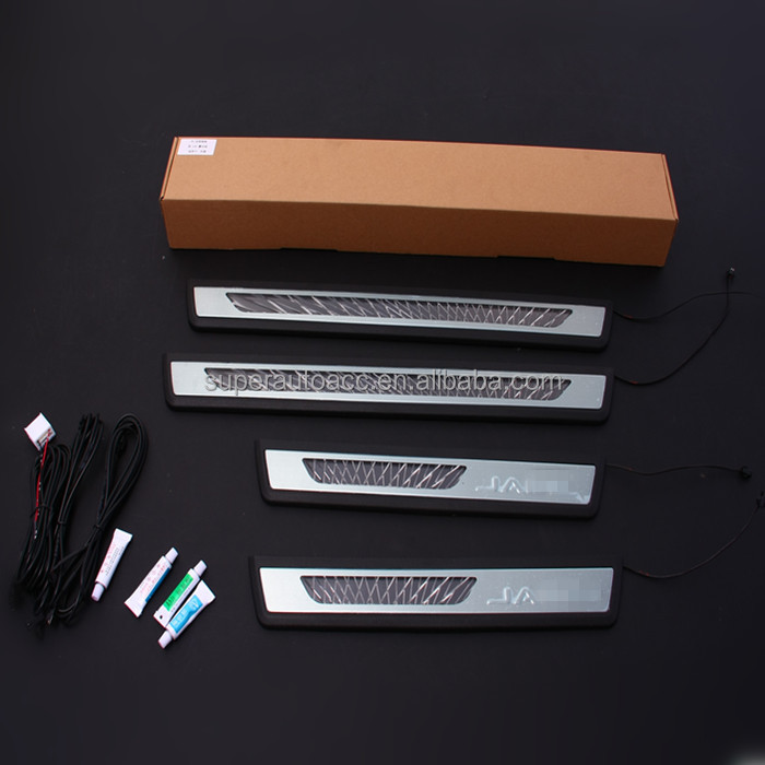 Stainless Steel +PP material new design car accessories interior led door sill scuff plate