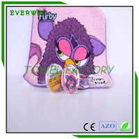 4.5cm dia round shape magic compressed face towels with furby cartoon character