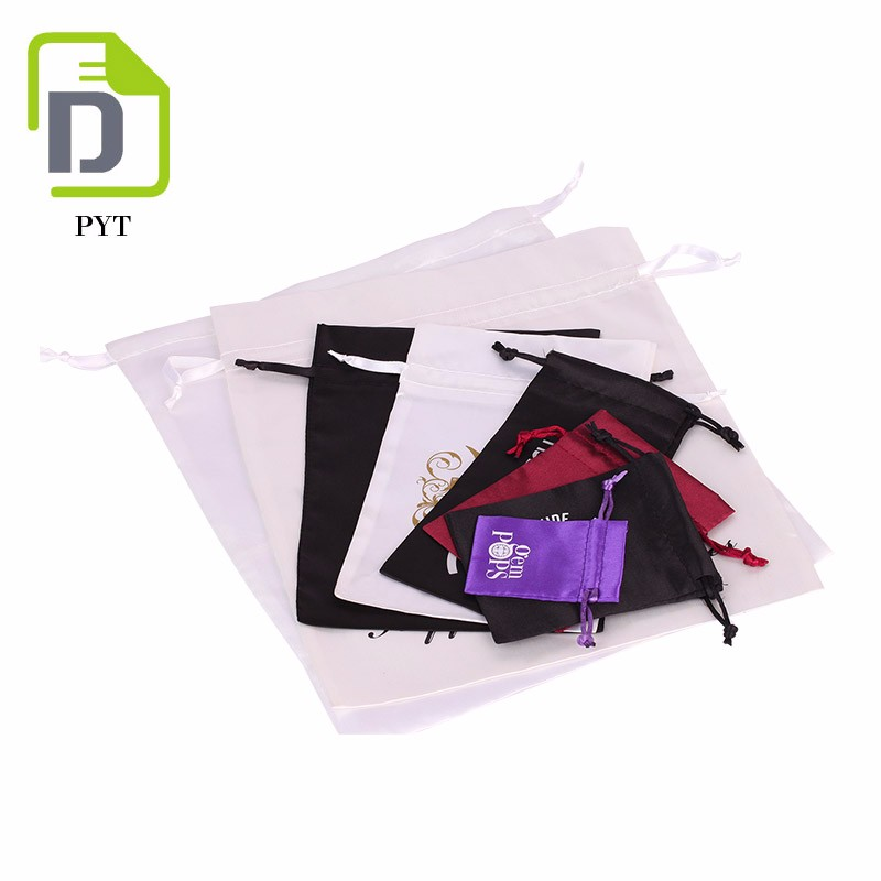 Wholesale packaging jewelry satin drawstring pouch with logo and pattern printing