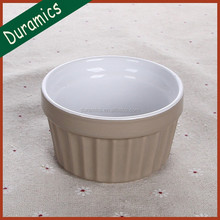 High quality round color glazed embossed ceramic ramekin bowl from china