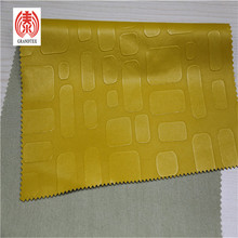 Embossed Pu Leather Fabric For Handbags 0.55 MM Thickness Lemon Yellow