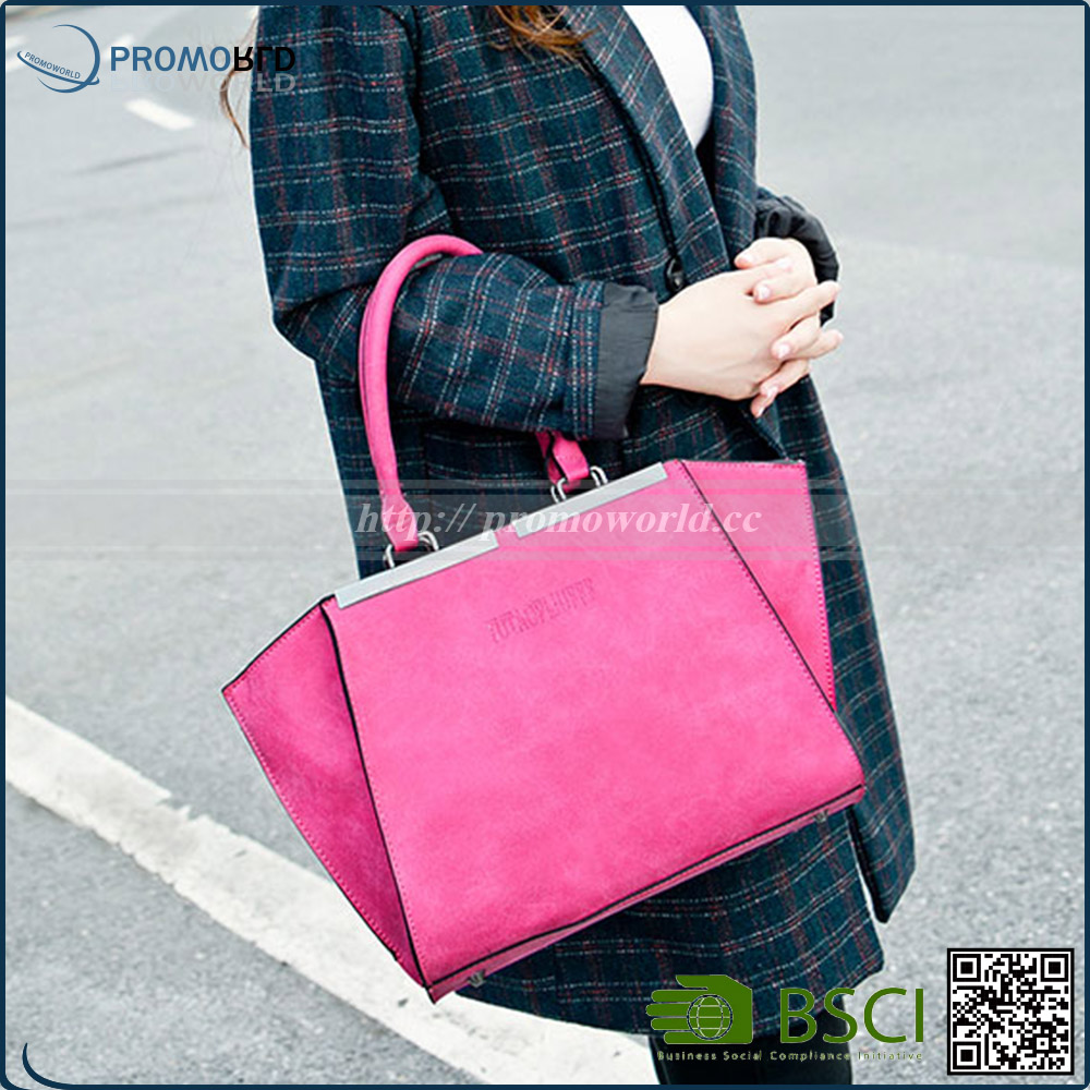2017 Spring Collection Young Lady Tote Leather Bag With Shoulder Strap