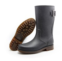 New fashion men PVC rain boot wellington boot wellies leather style half height with metal buckle