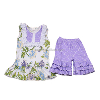 Floral top triple ruffle shorts set baby clothes manufacturers usa wholesale designer clothing for kids korean children clothing