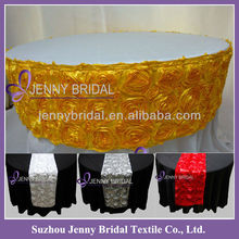 TR003H Yellow satin ribbon rosette embroidery wedding decorative table runner