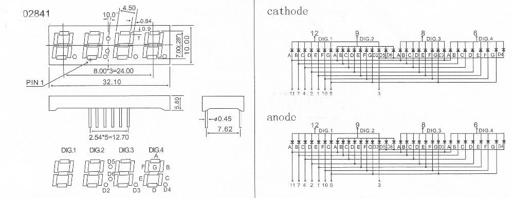0.28 inch 4 digit fyq-2841-a/bxx 7 segment clock led display