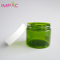 Cosmetic skincare round 150ml plastic green PET jar for scrub cream