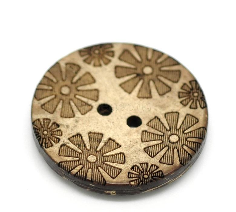 All Type of 28mm Flower Round Brown Two Holes Coconut Shell Button for Decorating