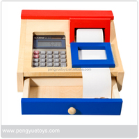 Wooden toy Pretend Play cashier set for preschoolers