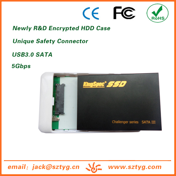 HUA001-SU3 Alibaba Wholesale USB3.0 SATA External Digital Encrypted Hard Disk Case for Portable Hard Disk