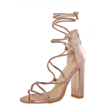 Gracozy Chengdu Factory Women Fancy Design High Heel Shoes Cross Strappy Lady Sexy Block High Heel Shinny Shoes Sandal