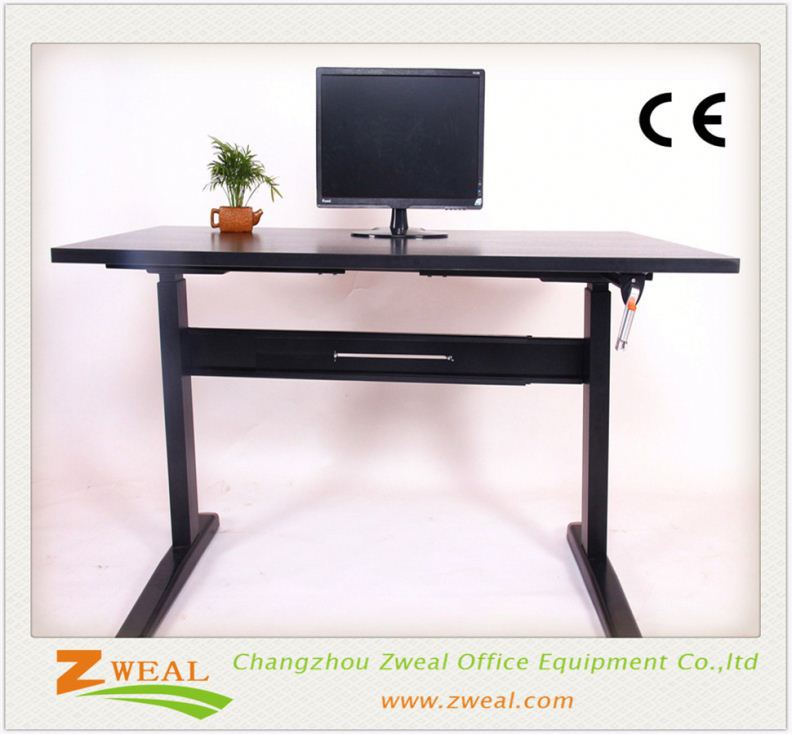 l-shape workstation computer desk in secret maple and white adjustable height glass table