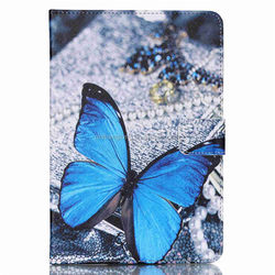 For iPad Mini PU Leather Case Butterfly Design Folio Flip Stand Cover