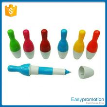 Best selling low price plastic promotional barrel bowling ball pen made in china