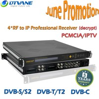 4 channel IP TV tuner to IP Decoder for Encrypted Channels with Decoder dvbt tuner