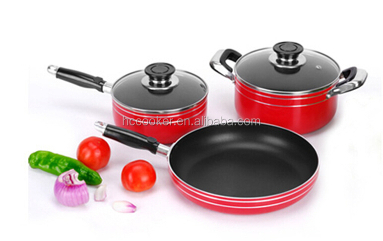 hot sell 2015 new design aluminium cookware 5 pcs