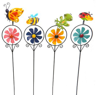 Outdoor decorations ladybug sticks ladybird garden stake metal