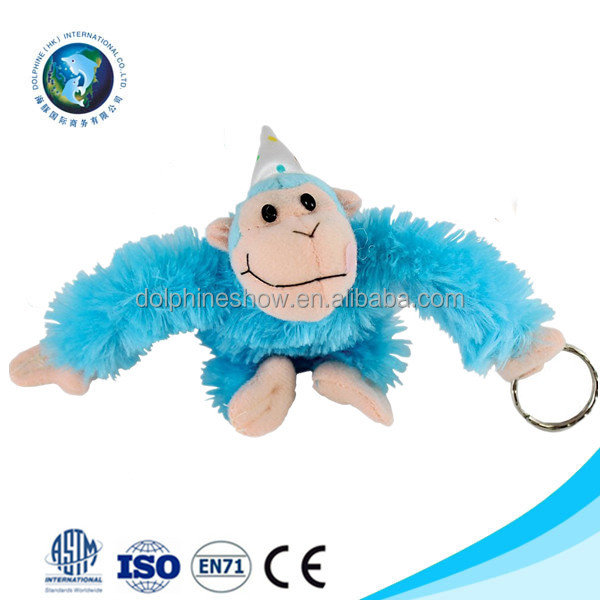 Customized cute plush blue monkey keychain toy fashion wholesale soft stuffed plush mini monkey