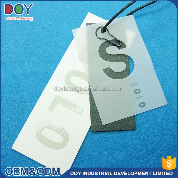 brand name paper garment hang tag