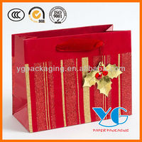 Christmas Red & Gold Stripes Medium Gift Bag Paper Bags