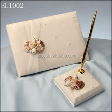2015 Beach Wedding collection of wedding guest book and signature pen holder organza fabric wedding ring pillow / flower basekt