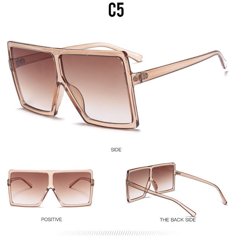2019 New Hot PC big frame rectangle women goggles hot sales Europe and the United States fashion sunglasses 1702