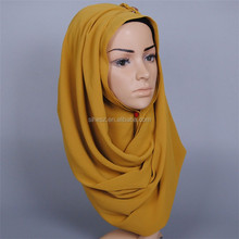 solid plain pearl bubble chiffon hijab ready wear muslim shawls