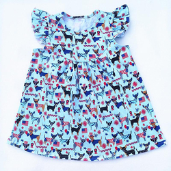 Wholesale 4th of July children's patriotic clothes. children flutter sleeve Dog print pattern dress