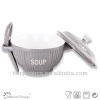 Ceramic stoneware soup bowl with cover and spoon light grey supplier