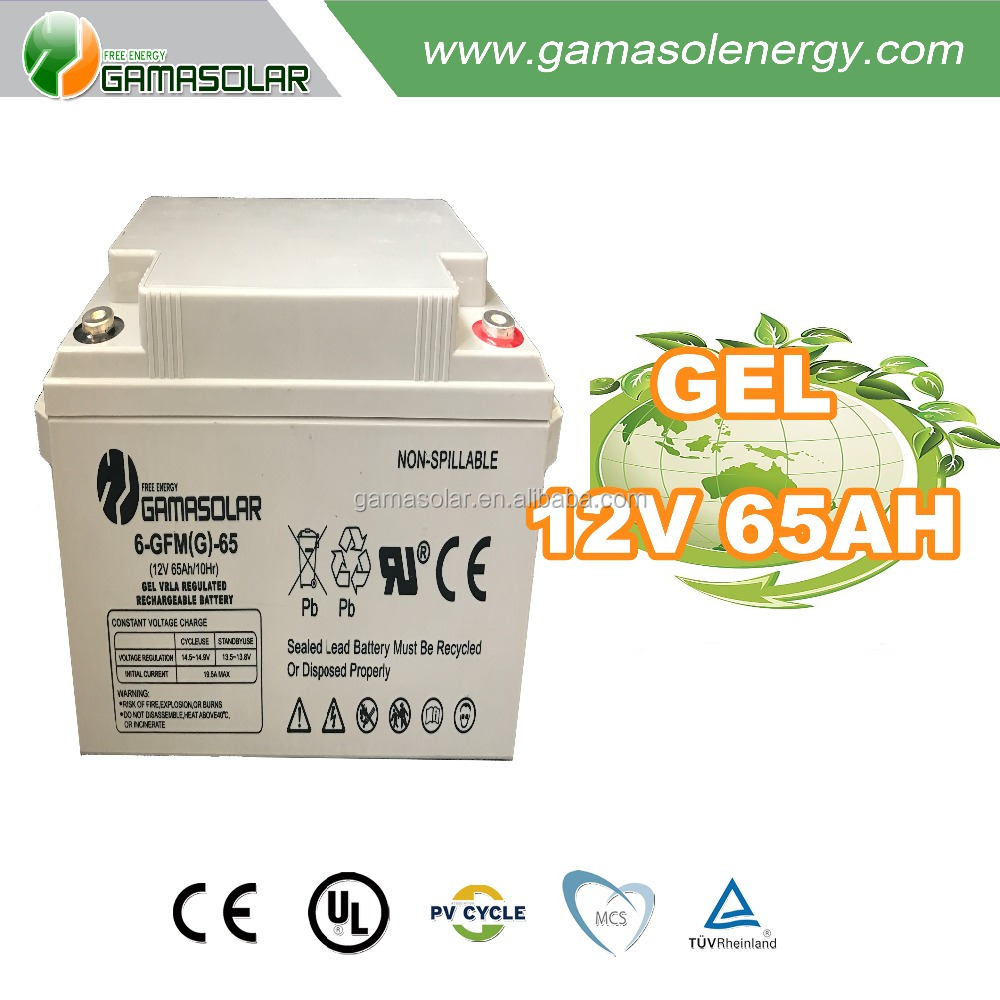 Gama Solar high quality exide deep cycle gel battery for solar system 12v 65ah