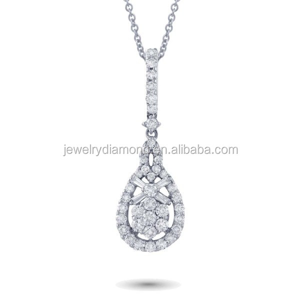 Exclusive!! 0.93CT 18K White Gold Diamond Pendant Latest Diamonds Pendants Designs Locket