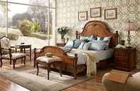 Luxury bedroom furniture wooden bed with dressing table victorian antique furniture wooden bed
