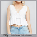 Stylish Ladies Sexy Chic Deep V Neck White Lace Peplum Hem Crop Tops