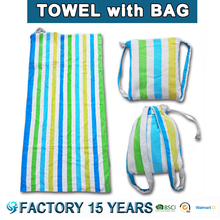 Free Sample [10% discount ] fashion wholesale custom printed cotton beach towel bag set