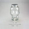 4L 16OZ skull decanter mason jar beverage dispenser w/ straws faucet tap pump milk shaker