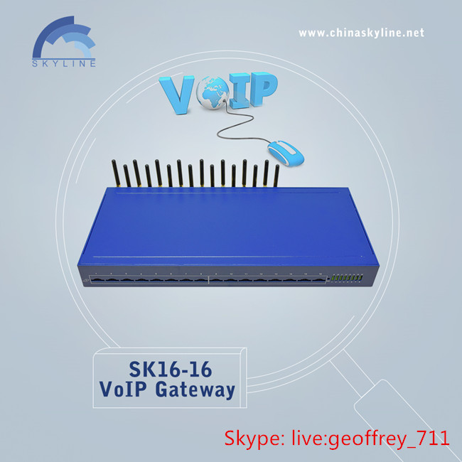 16 ports GSM VoIP Gateway, SK16-16, free unlimited voip calls free international calls Automatic IMEI Change