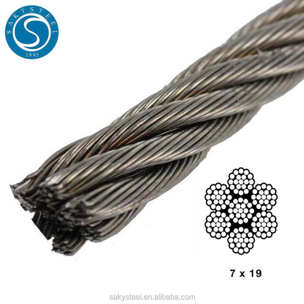 1x19 Stainless Steel Wire Rope Price Cable Rigging 100 meters of 2mm Wire Rope