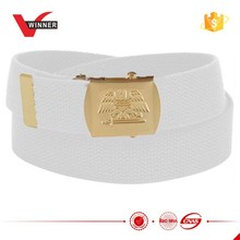 Men's white canvas web belts