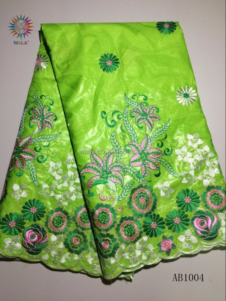 AB1004-4 free shipping good quality nigeria bazin riche lemon green brocade lace