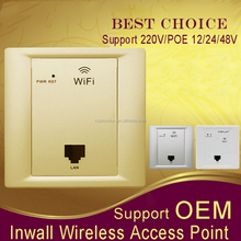 300Mbps In Wall Hotel AP/access point wall mount wifi access point with antenna 220v/poe 24v power
