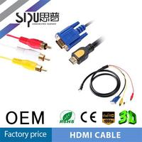 SIPU factory price hdmi to vga 3rca cable for TV for DVD for PC wholesale vga to hdmi